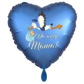 Du wirst Mama, Herzluftballon aus Folie, 43 cm, Satin de Luxe, blau
