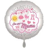 Du wirst Mama, Luftballon aus Folie, 43 cm, Satine de Luxe, weiß