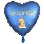 Du wirst Oma, Baby-Boy. Herzluftballon aus Folie, 43 cm, Satin de Luxe, rosa
