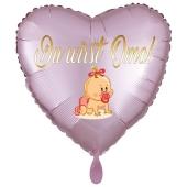 Du wirst Oma, Baby-Girl. Herzluftballon aus Folie, 43 cm, Satin de Luxe, rosa