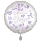 Du wirst Oma, Boy. Luftballon aus Folie, 43 cm, Satine de Luxe, weiß