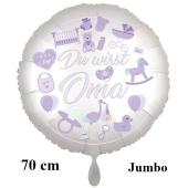 Du wirst Oma, Boy. Luftballon aus Folie, 70 cm, Satine de Luxe, weiß
