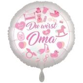 Du wirst Oma, Girl. Luftballon aus Folie, 43 cm, Satine de Luxe, weiß