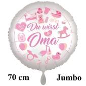 Du wirst Oma, Girl. Großer Luftballon aus Folie, 70 cm, Satine de Luxe, weiß