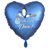 Du wirst Oma, Herzluftballon aus Folie, 43 cm, Satin de Luxe, blau