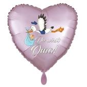 Du wirst Oma, Herzluftballon aus Folie, 43 cm, Satin de Luxe, rosa