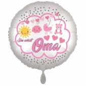 Du wirst Oma, Luftballon aus Folie, 43 cm, Satine de Luxe, weiß