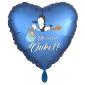 Du wirst Onkel, Herzluftballon aus Folie, 43 cm, Satin de Luxe, blau