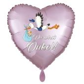 Du wirst Onkel, Herzluftballon aus Folie, 43 cm, Satin de Luxe, rosa