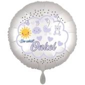 Du wirst Onkel, Luftballon aus Folie, 43 cm, Satine de Luxe, weiß
