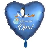 Du wirst Opa, Herzluftballon aus Folie, 43 cm, Satin de Luxe, blau