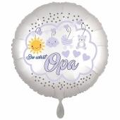 Du wirst Opa, Luftballon aus Folie, 43 cm, Satine de Luxe, weiß