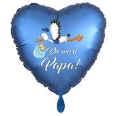Du wirst Papa, Herzluftballon aus Folie, 43 cm, Satin de Luxe, blau