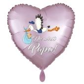 Du wirst Papa, Herzluftballon aus Folie, 43 cm, Satin de Luxe, rosa