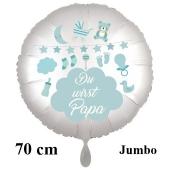 Du wirst Papa, Luftballon aus Folie, 70 cm, Satine de Luxe, swr, weiß