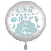 Du wirst Papa, Luftballon aus Folie, 43 cm, Satine de Luxe, swr, weiß