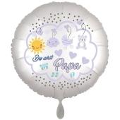Du wirst Papa, Luftballon aus Folie, 43 cm, Satine de Luxe, weiß