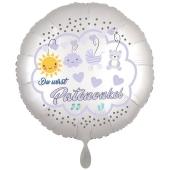 Du wirst Patenonkel, Luftballon aus Folie, 43 cm, Satine de Luxe, weiß