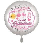 Du wirst Patentante, Luftballon aus Folie, 43 cm, Satine de Luxe, weiß