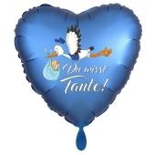 Du wirst Tante, Herzluftballon aus Folie, 43 cm, Satin de Luxe, blau