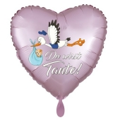 Du wirst Tante, Herzluftballon aus Folie, 43 cm, Satin de Luxe, rosa