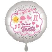 Du wirst Tante, Luftballon aus Folie, 43 cm, Satine de Luxe, weiß