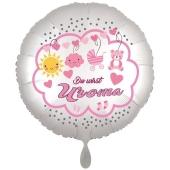 Du wirst Uroma, Luftballon aus Folie, 43 cm, Satine de Luxe, weiß