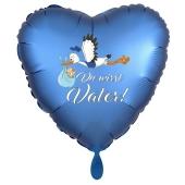 Du wirst Vater, Herzluftballon aus Folie, 43 cm, Satin de Luxe, blau