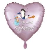 Du wirst Vater, Herzluftballon aus Folie, 43 cm, Satin de Luxe, rosa
