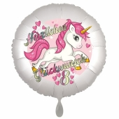 Einhorn Luftballon zum 8. Geburtstag
