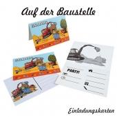 Baustellenparty - Einladungskarten zum Kindergeburtstag