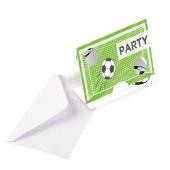 Einladungskarten Fußball, 8 Stück mit Umschlag