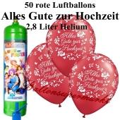 Ballons und helium Midi Set, Alles Gute zur Hochzeit, rot mit Liter Einwegbehälter