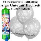 Ballons und Helium Midi Set, Alles Gute zur Hochzeit, transparent mit Liter Einwegbehälter