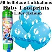 Ballons und Helium Midi Set zu Geburt, Babyparty, Taufe, Junge, Baby Footprints, hellblau mit Einwegbehälter