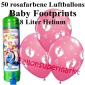 Ballons und Helium Midi Set zu Geburt, Babyparty, Taufe, Junge, Baby Footprints, rosa mit Einwegbehälter