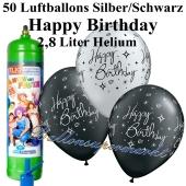 Ballons und Helium Mini Set zum Geburtstag, Happy Birthday silber/schwarz mit Einwegbehälter