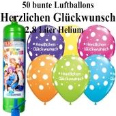 Ballons und Helium Midi Set zum Geburtstag, Herzlichen Glückwunsch, bunt mit Einwegbehälter