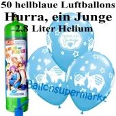 Ballons und Helium Midi Set zu Geburt, Babyparty, Taufe, Hurra, ein Junge mit Einwegbehälter