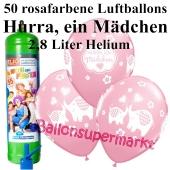 Ballons und Helium Midi Set zu Geburt, Babyparty, Taufe, Hurra, ein Mädchen mit Einwegbehälter