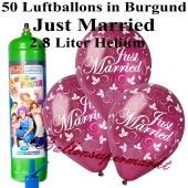 Ballons und Helium Midi Set, Just Married, burgund mit Einwegbehälter