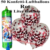 Ballons und Helium Midi Set, Konfettiballons, rot mit Einwegbehälter