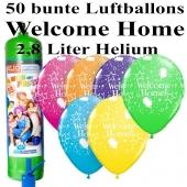 Ballons und Helium Midi Set Welcome Home, bunt mit Einwegbehälter