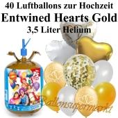 Ballons und Helium Midi Set, Entwined Hearts gold mit Einwegbehälter