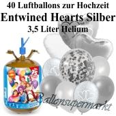 Ballons und Helium Midi Set, Entwined Hearts Silber mit Einwegbehälter