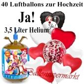 Ballons und Helium Midi Set, Ja! mit Einwegbehälter