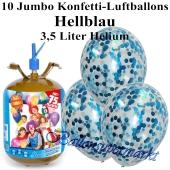 Ballons und Helium Midi Set, Jumbo Konfettiballons, hellblau mit Einwegbehälter