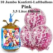 Ballons und Helium Midi Set, Jumbo Konfettiballons, pink mit Einwegbehälter