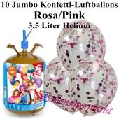 Ballons und Helium Midi Set, Jumbo Konfettiballons, rosa/pink mit Einwegbehälter