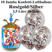 Ballons und Helium Midi Set, Jumbo Konfettiballons, rosegold/silber mit Einwegbehälter